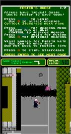 In game image of Uncle Fester's Quest: The Addams Family on the Arcade.