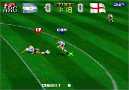 In game image of V Goal Soccer on the Arcade.