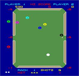 In game image of Video Eight Ball on the Arcade.