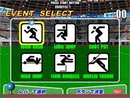 In game image of Virtua Athletics / Virtua Athlete on the Arcade.