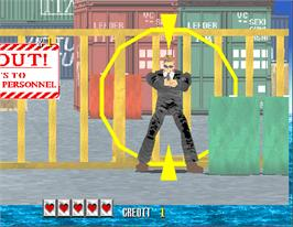 In game image of Virtua Cop on the Arcade.