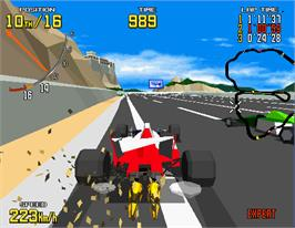 In game image of Virtua Racing on the Arcade.