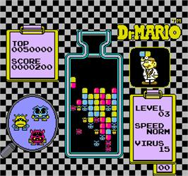 In game image of Vs. Dr. Mario on the Arcade.