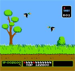 In game image of Vs. Duck Hunt on the Arcade.