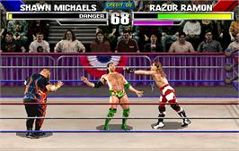 In game image of WWF: Wrestlemania on the Arcade.