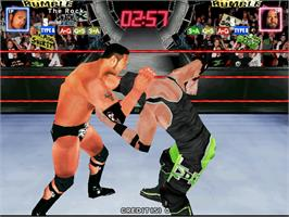 In game image of WWF Royal Rumble on the Arcade.