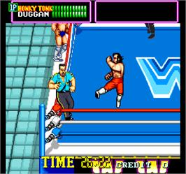 In game image of WWF Superstars on the Arcade.
