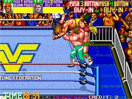 In game image of WWF WrestleFest on the Arcade.