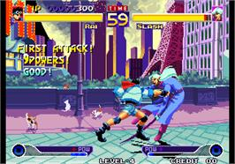 In game image of Waku Waku 7 on the Arcade.