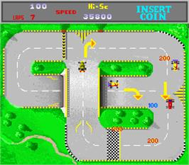 In game image of Wheels Runner on the Arcade.