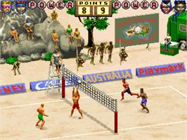 In game image of World Beach Volley on the Arcade.