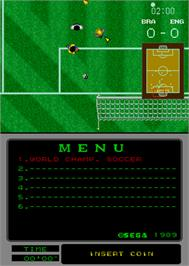 In game image of World Championship Soccer on the Arcade.