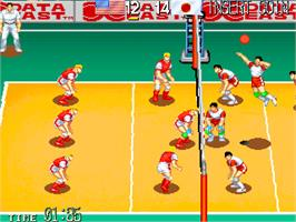 In game image of World Cup Volley '95 on the Arcade.