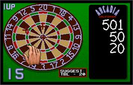 In game image of World Darts on the Arcade.