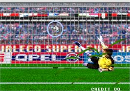 In game image of World PK Soccer V2 on the Arcade.