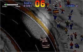 In game image of World Rally on the Arcade.