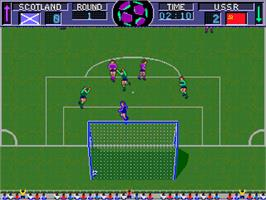 In game image of World Soccer Finals on the Arcade.