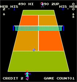 In game image of World Tennis on the Arcade.