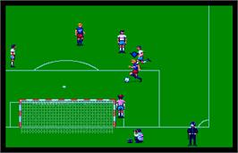 In game image of World Trophy Soccer on the Arcade.