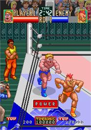 In game image of Wrestle War on the Arcade.
