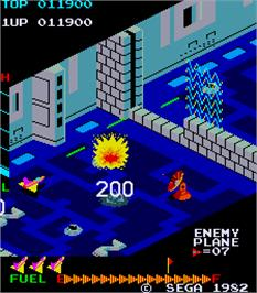 In game image of Zaxxon on the Arcade.