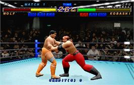In game image of Zen Nippon Pro-Wrestling Featuring Virtua on the Arcade.