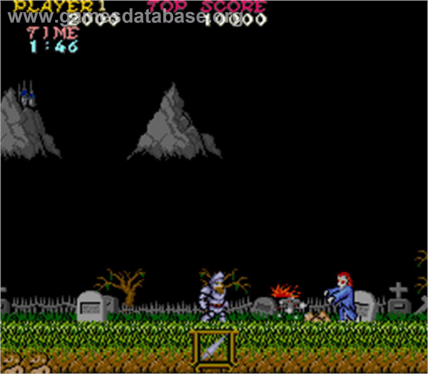 In game image of Ghosts'n Goblins on the Arcade.