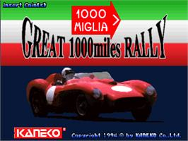 Title screen of 1000 Miglia: Great 1000 Miles Rally on the Arcade.
