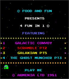 Title screen of 4 Fun in 1 on the Arcade.