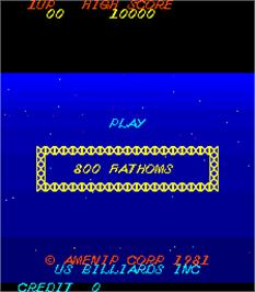 Title screen of 800 Fathoms on the Arcade.