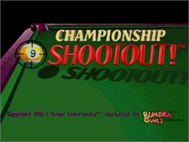 Title screen of 9-Ball Shootout Championship on the Arcade.