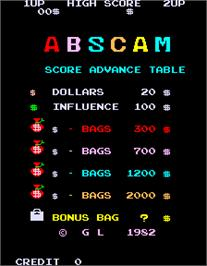 Title screen of Abscam on the Arcade.
