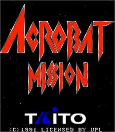 Title screen of Acrobat Mission on the Arcade.