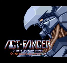 Title screen of Act-Fancer Cybernetick Hyper Weapon on the Arcade.