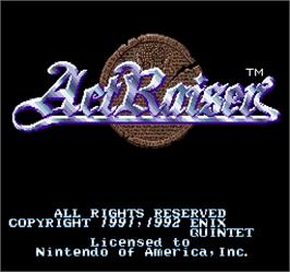 Title screen of Act Raiser on the Arcade.