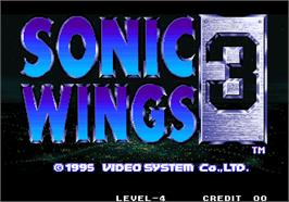 Title screen of Aero Fighters 3 / Sonic Wings 3 on the Arcade.