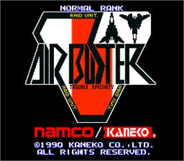 Title screen of Air Buster: Trouble Specialty Raid Unit on the Arcade.