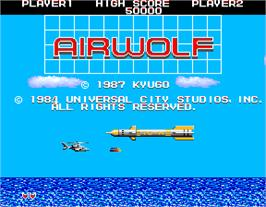 Title screen of Airwolf on the Arcade.