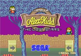 Title screen of Alex Kidd: The Lost Stars on the Arcade.
