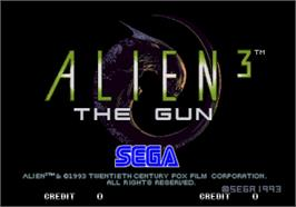 Title screen of Alien3: The Gun on the Arcade.