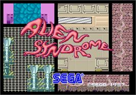 Title screen of Alien Syndrome on the Arcade.