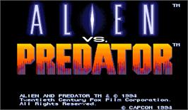 Title screen of Alien vs. Predator on the Arcade.