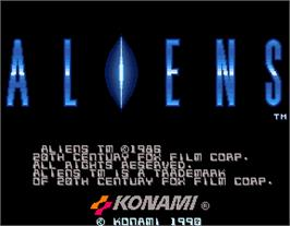 Title screen of Aliens on the Arcade.