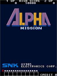 Title screen of Alpha Mission on the Arcade.