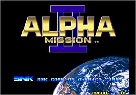 Title screen of Alpha Mission II / ASO II - Last Guardian on the Arcade.