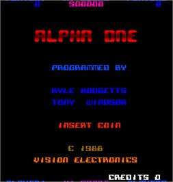 Title screen of Alpha One on the Arcade.