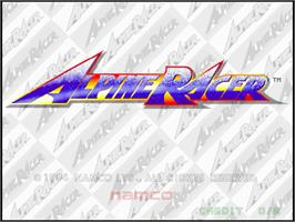 Title screen of Alpine Racer on the Arcade.