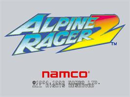 Title screen of Alpine Racer 2 on the Arcade.