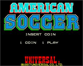 Title screen of American Soccer on the Arcade.