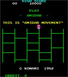 Title screen of Amidar on the Arcade.